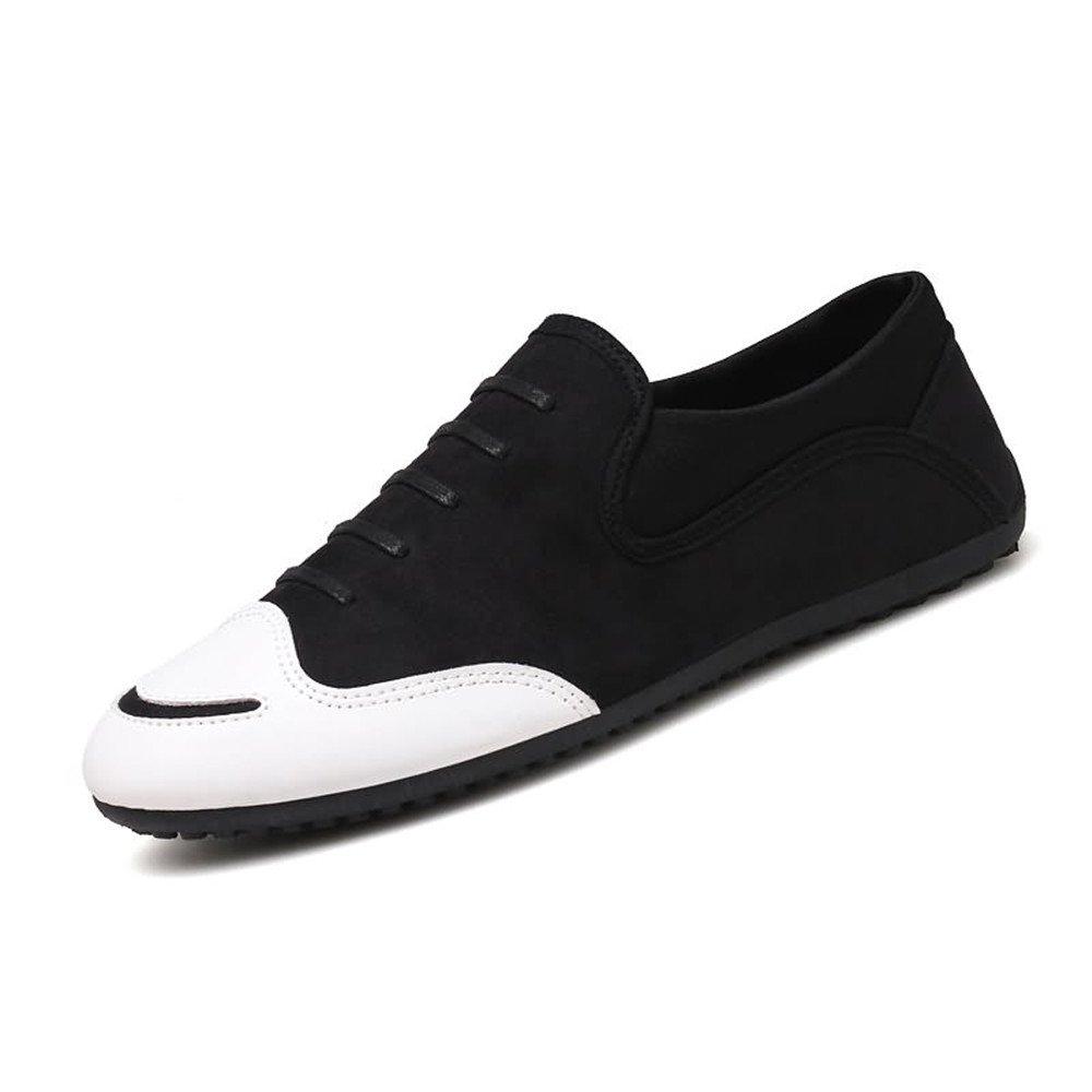 Männer Loafer Runde Zehe Flache Ferse Schuhe Solid Farbe Slip On Schuhe Ferse Schwarz 88e2f9