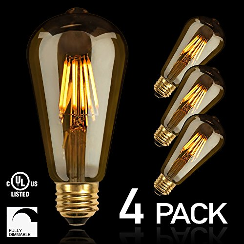 NITOR Lighting LED Vintage Bulbs, DIMMABLE Edison LED Bulb, Filament Light Bulb, 6W (60W Incandescent Replacement), 2200K (Amber Colour), Antique Style, Amber Tinted Lens, E26 Medium Base (4-Pack) (E26 Lens)