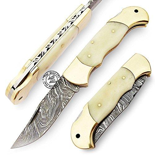 - BACK LOCK Camel Bone 8'' Double Bolster 100% Handmade Damascus Steel Folding Pocket Knife 100% Prime Quality