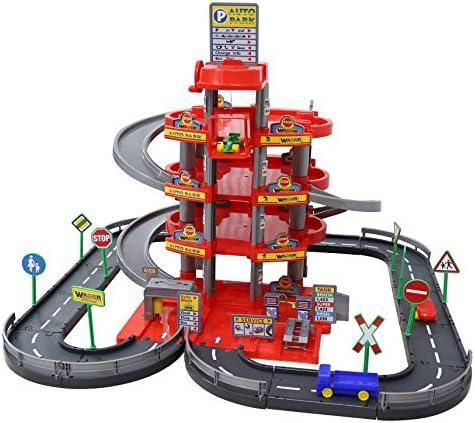 Wader Quality Toys Garage mit 4-Ebenen mit Straße und Autos