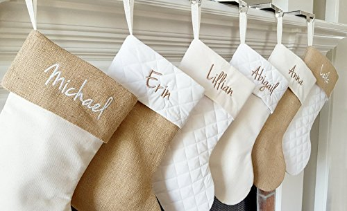Personalized Christmas Stocking in Natural Burlap, Ivory Cream Quilted, Cotton | Choose from 6 Different Styles ()