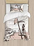 Lunarable Ibiza Twin Size Duvet Cover Set, Sketch Lifeguard Watching over the Beach Exotic Holiday South Spain Islands, Decorative 2 Piece Bedding Set with 1 Pillow Sham, Brown and Warm Taupe