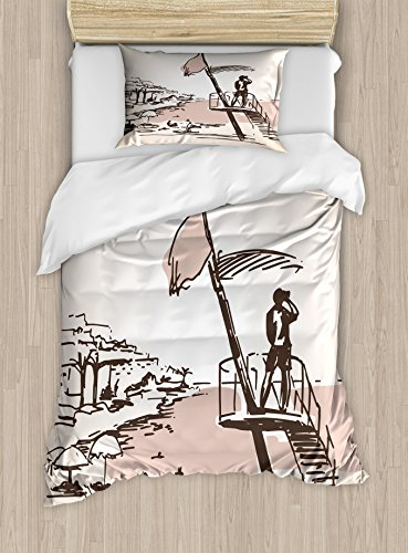 Lunarable Ibiza Twin Size Duvet Cover Set, Sketch Lifeguard Watching over the Beach Exotic Holiday South Spain Islands, Decorative 2 Piece Bedding Set with 1 Pillow Sham, Brown and Warm Taupe by Lunarable