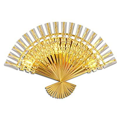 Creative Living Room Fan Crystal Wall Lamp Bedroom Bedside Lamp Aisle Corridor Staircase Wall Light ( Design : 59 )