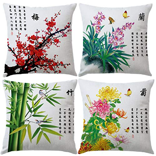 7ColorRoom Ink Wash Painting with Birds& Flower Pillow Cover Plum Blossom Chrysanthemum Orchid Bamboo Cushion Covers Traditional Chinese Calligraphy Culture Pillowcases 18