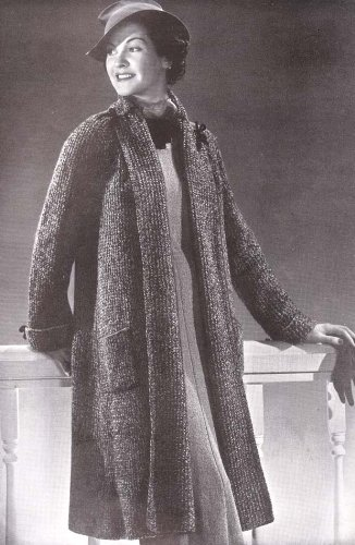 Knit Swagger Coat Knitting Pattern Size 16 to 18