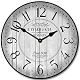 Harbor Gray Wall Clock, Available in 8 sizes, Most Sizes Ship 2 - 3 days, Whisper Quiet.