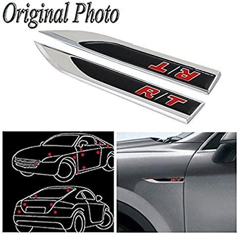 CHAMPLED 2Pcs Great Metal Car Side Fender fit for Black R/T Dodge Chrysler JEEP Skirts Knife Type Sticker Badge - Chevrolet Avalanche 1500 Front Bumper