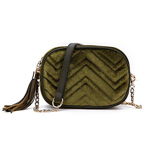 97f0bc524 SUSEN Womens Vintage Velvet Mini Crossbody Bag Luxury Tassel Chain Party Bag  For Girls - Buy Online in UAE.