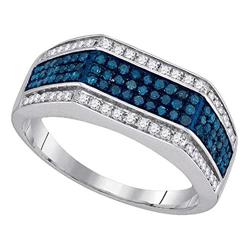 Religious Diamond Wedding Band - The Diamond Deal 10kt White Gold Mens Round Blue Color Enhanced Diamond Triple Stripe Flat Surface Band 3/4 Cttw