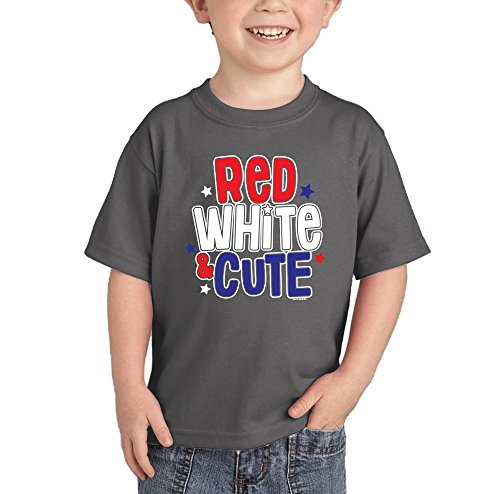 HAASE UNLIMITED Toddler/Infant Red White and Cute T-Shirt (6M, (Ar Red Charcoal)