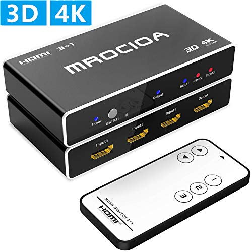 MROCIOA Hdmi Switch, 3 in - 1 Out 3Port 4K and 3D High Speed Hdmi Switcher Box with IR Wireless Remote. Support PS4/ Xbox One/Fire TV/Apple TV/Sky Box/STB/DVD/Laptop/Roku.