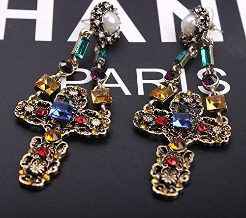 fashion retro big baroque cross jeweled diamond earrings earrings long exaggerated women girls jewelry