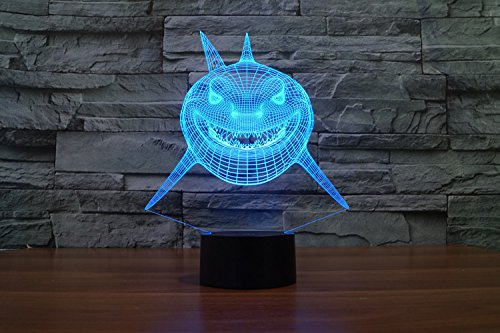 3D Visualization Amazing Glow LED Lamp Night Light-Bulb shark Art ...