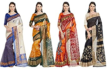 Florence Women's Silk Bhagalpuri Combo Saree (FL-COM-4_4,