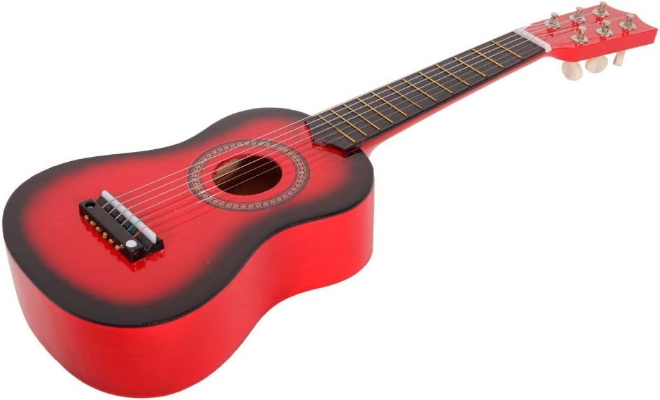 21inch, Black 21 inch Mini 6-String Acoustic Guitar Bundle Kit Stringed Musical Instrument Bundle for Students Children Adult Beginner Acoustic Guitar with Pick and Steel String US STOCK