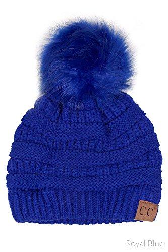 - ScarvesMe CC Knitted Hat with Color Fur Pom Pom (Royal Blue)