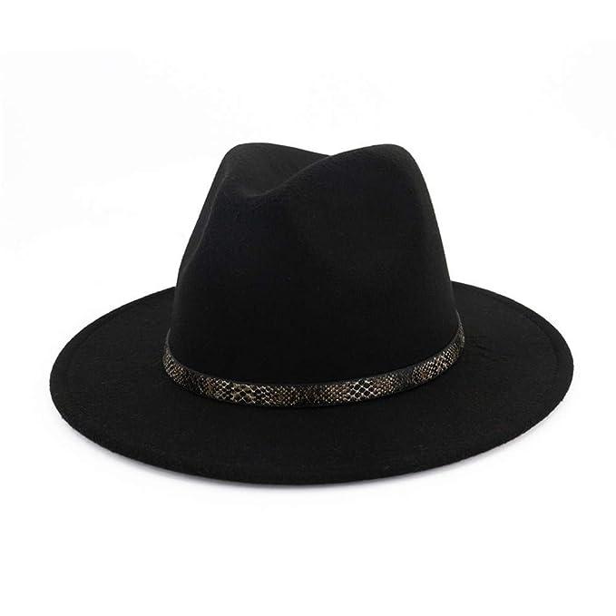 e0d203f35180e Vim Tree001 Men   Women s Wide Brim Fedora Hat with Band Unisex Felt Panama  Cap Black