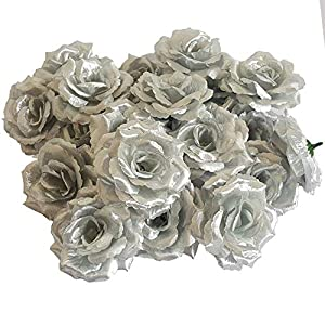 Eternal Blossom Silk Rose Flower Head, 20PCS for Hat Clothes Album Decoration, Wedding Decoration (Silver) 1