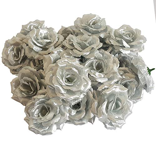 Eternal Blossom Silk Rose Flower Head, 20PCS for Hat Clothes Album Decoration, Wedding Decoration (Silver) - Gold Silver Flowers