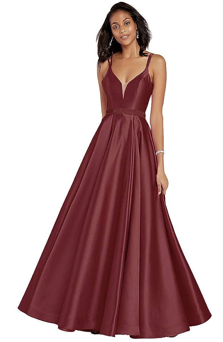 Burgundy V Neck Sleeveless Satin Prom Dresses Long Evening Skirt Beaded Belt with Pockets