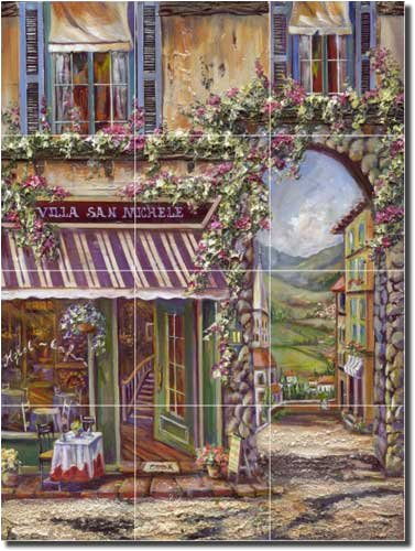 Villa San Michele by Ginger Cook - Village Cafe Ceramic Tile Mural 17
