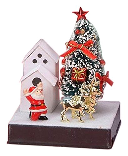 StealStreet SS-UG-JD-0163 Small Santa In Front of House Fiber Optic Xmas Tree, 5