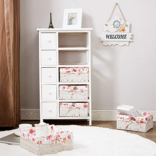 HONBAY 5 Tier Storage Tower with 5 Baskets and 5 Drawers White for Living Room, Bathroom, Nursery (5 Drawers and 5 Baskets)