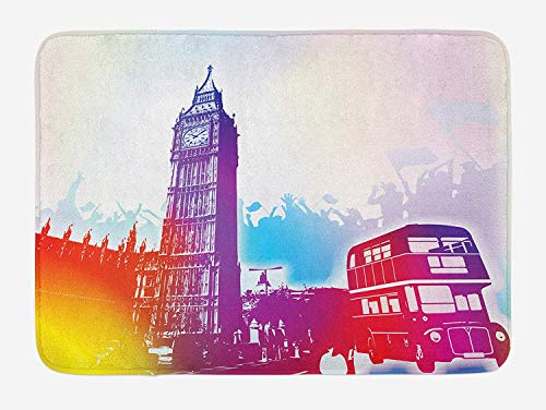 Queolszi London Bath Mat, Historical Big Ben and Bus Great Bell Clock Tower UK Europe Street Landmark, Plush Bathroom Decor Mat with Non Slip Backing, 23.6 W X 15.7 W Inches, Purple Red Yellow