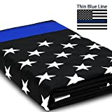 Anley [EverStrong Series Thin Blue Line USA Flag 3x5 Foot Heavy Duty Nylon - Embroidered Stars and Sewn Stripes - Honoring Law Enforcement Officers Banner Flags with Brass Grommets 3 X 5 Ft