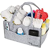 Baby Diaper Caddy-Multi Purpose Nursery Tote For Diapers, Wipes, Toys| Storage Tote for Travel| Great Gift For New Parents, Newborn Registry, Baby Shower Gift Idea|Felt, Grey, Adjustable,