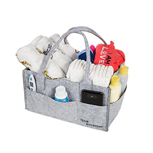 New Great Gifts - Baby Diaper Caddy-Multi Purpose Nursery Tote For Diapers, Wipes, Toys| Storage Tote for Travel| Great Gift For New Parents, Newborn Registry, Baby Shower Gift Idea|Felt, Grey, Adjustable,