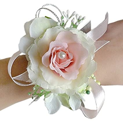 Amazon arlai wrist corsage wristband roses wrist corsage for arlai wrist corsage wristband roses wrist corsage for prom party wedding pinkwhite mightylinksfo