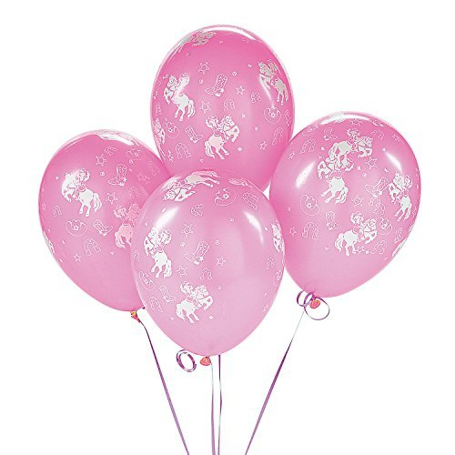 Fun Express Cowgirl Pink Western Rodeo Dance Birthday Party Balloons (25 Pack) -