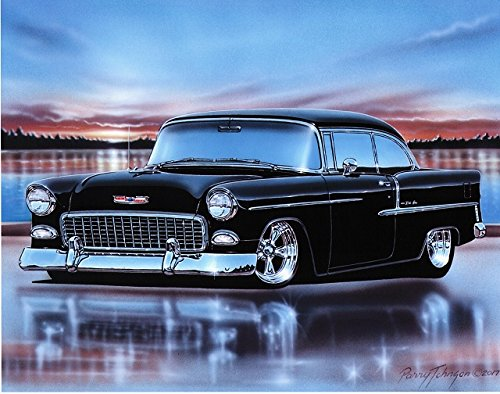 1955 Chevy Bel Air 2 Door Hardtop Hot Rod Car Art Print Black 11x14 Poster