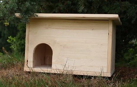 Caseta para erizo (con entrada laberíntica y trampilla para ratas)
