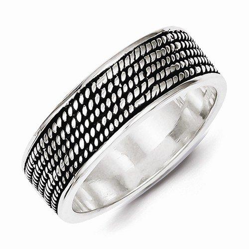 Solid 925 Sterling Silver Men's Rope Design Wedding Band Ring (7mm) (Wedding Rope Design Band Ring)