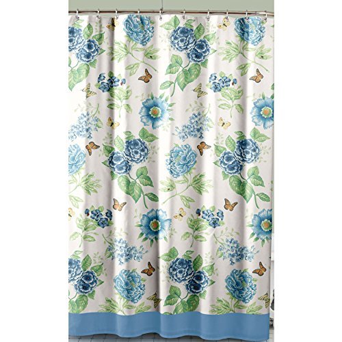 Lenox Printed Shower Curtain, Blue Floral Garden from Lenox