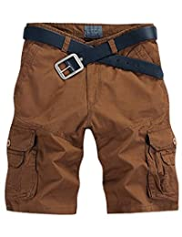 CRAZY Men's Summer Baggy Cotton Straight Cargo Shorts Casual Pants-coffee-34