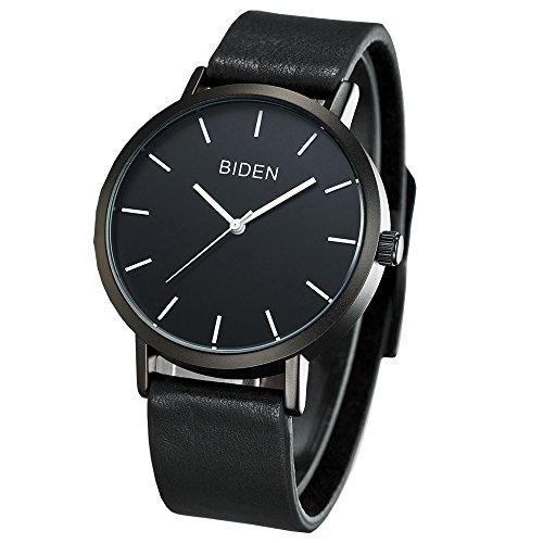 Biden Unisex Unique Analog Quartz Waterproof Leather Wrist Watch Fashion Classic Rose Gold Time Mark Design (Black)