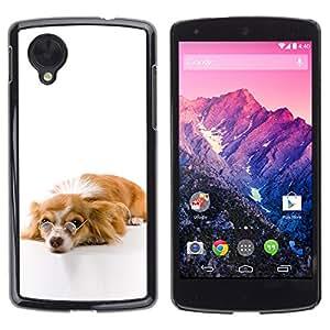 Paccase / SLIM PC / Aliminium Casa Carcasa Funda Case Cover - Funny Glasses Dog Cute - LG Google Nexus 5 D820 D821