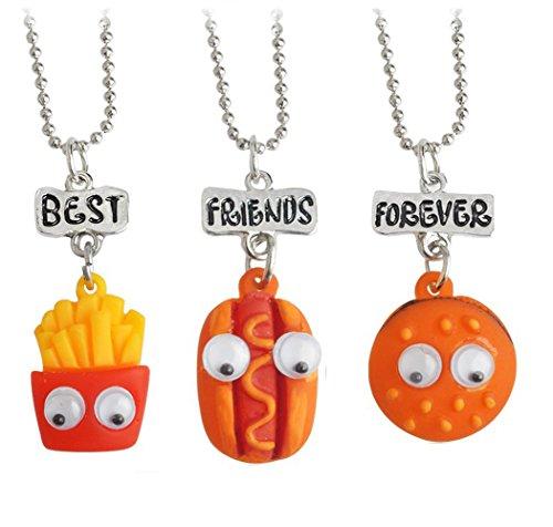 Elegant Rose Conjuntos de 3 Unidades Aleación Collares Best Friends Forever and Ever Hamburger Hot Dog Potato Creativo…