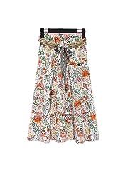 FTSUCQ Womens Linen Floral Printed Elastic Waist A-Line Bust Midi Skirt
