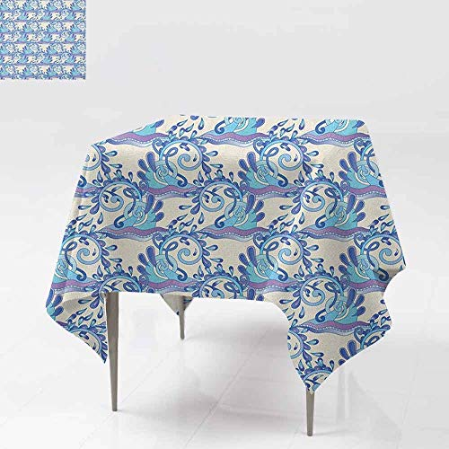 DUCKIL Restaurant Tablecloth Abstract Swirled Blue Wave with Sparks and Drops Artistic Ornamental Seascape for Kitchen Dinning Tabletop Decoration W36 xL36 Violet Beige Blue