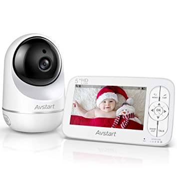 Samixc Video Baby Monitor with 5 Inches Display Remote Pan 720P HD Resolution