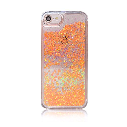 iPhone 7 Case, iPhone 8 Cover, TIPFLY Luxury Glitter Bling Case with Flowing floating Quicksand, Transparent Dual Layer Skin Shockproof for Apple iPhone 7/8 -Orange