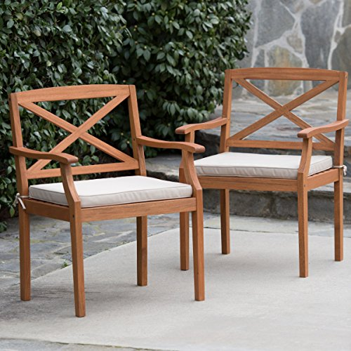 Brighton Eucalyptus Wood Outdoor Patio Dining Arm Chair With Natural Cushion - (Set of 2 ) Is Perfect Addition For Your Patio, Porch, or (Brighton Wood)