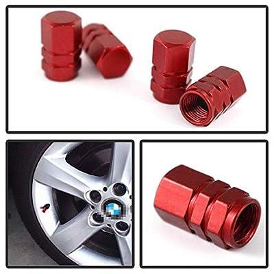iJDMTOY (4) Tuner Racing Style Red Aluminum Tire Valve Caps (Hexagon Shape): Automotive