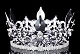 4.5'' Tall Fleur-De-Lis King Royal Full Crown - Silver Plated Clear Crystals T1010