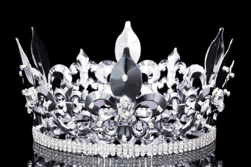 4.5'' Tall Fleur-De-Lis King Royal Full Crown - Silver Plated Clear Crystals T1010 by Venus Jewelry